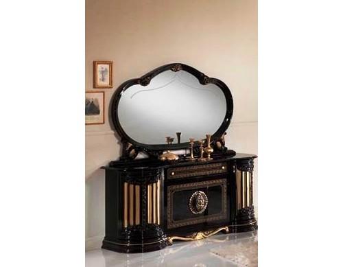 Kommode  mit Spiegel Betty in Schwarz Gold Barock Klassik