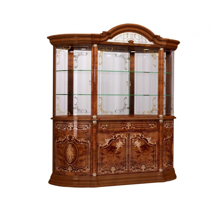 Vitrine Rozza in walnuss klassisch Barock Glasvitrine