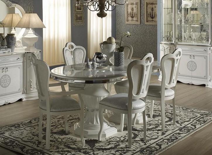 Esstisch Great mit 4 Stühlen in Weiß Silber Barock