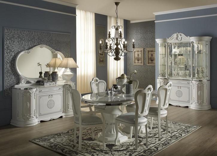 Esszimmer Great mit 4 Stüheln in Weiß Silber Klassisch Elegant