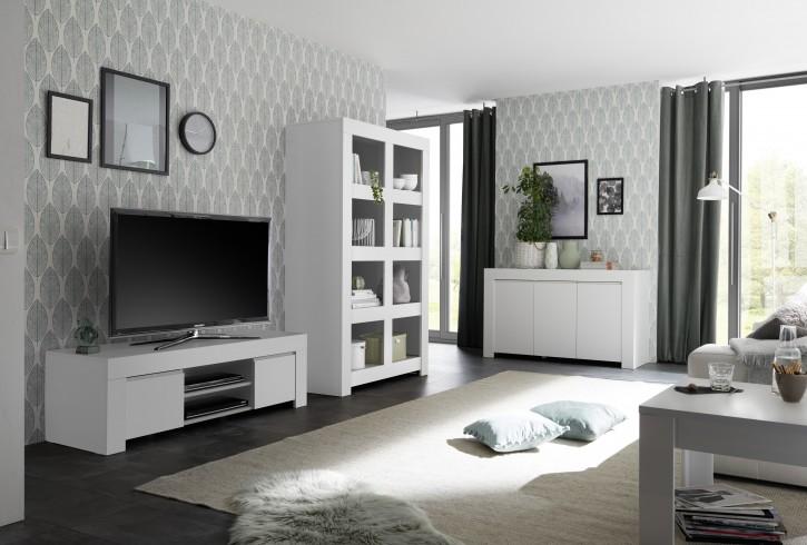 Wohnzimmer Set Fren in weiss TV-Schrank