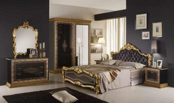 Schlafzimmer Jenny black schwarz gold Schrank 4-türig mit Spiege