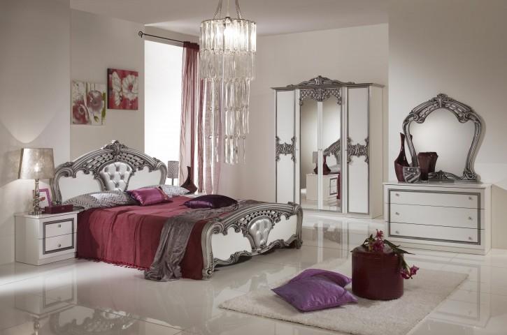 Schlafzimmer Elisa weiss Silber Luxus italienische Designer Baro