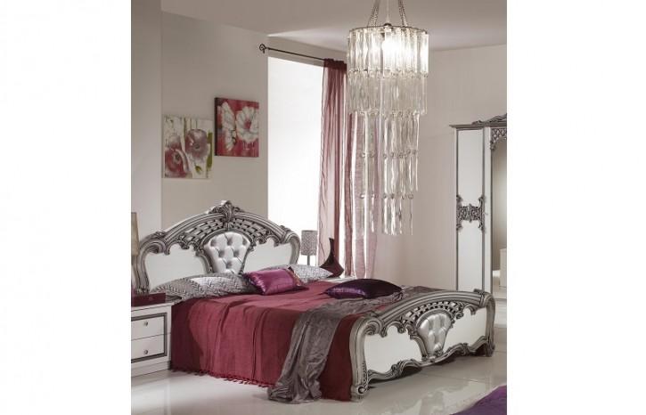 Bett Elisa 180x200cm weiss silber Designer Stilmöbel aus Italien