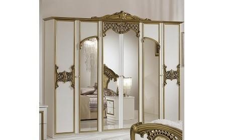 Kleiderschrank 6-türig Elisa Gold weiss klassische Schlafzimmer