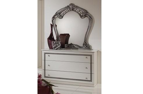 Kommode mit Spiegel Elisa weiss Silber klassische Möbel italieni