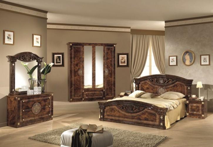 Schlafzimmer Rana walnuss braun 180x200 4-türig Schrank Design L