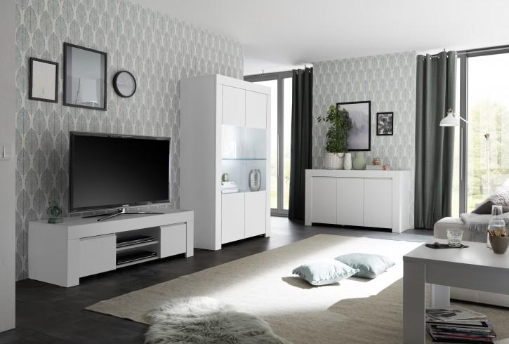 Wohnzimmer Set Fren mit Vitrine in weiss