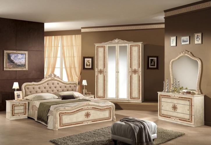 Schlafzimmer Lucy in beige Creme klassisch braun Designer Italie-DH ...