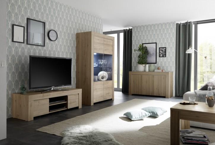 Wohnzimmer Set Fren in eiche mit Vitrine