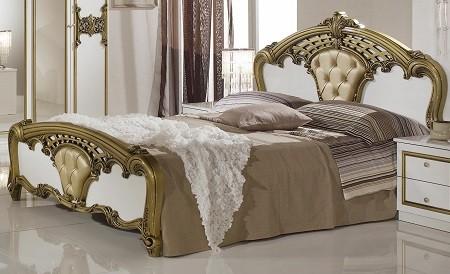 Bett Elisa 160x200cm in weiss Gold Klassisch Orientalisch Stilmö