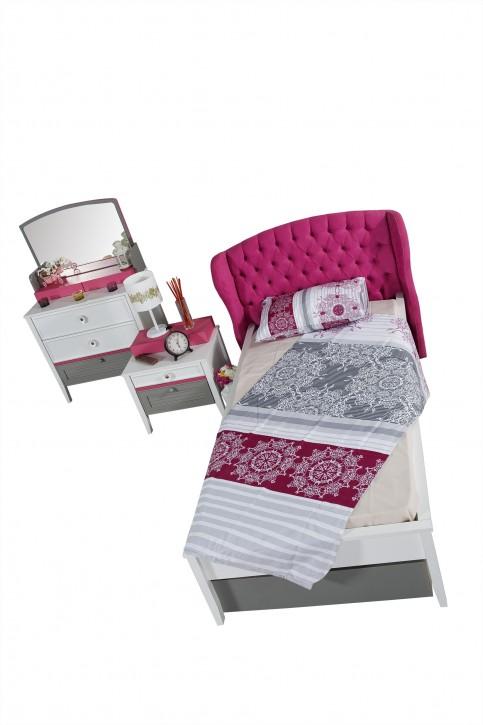 Kinderbett Mädchenbett Laila mit gepolstertem Kopfteil