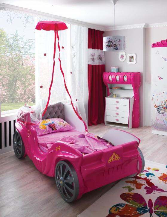 Kutschenbett in Pink Laila mit gepolstertem Kopfteil