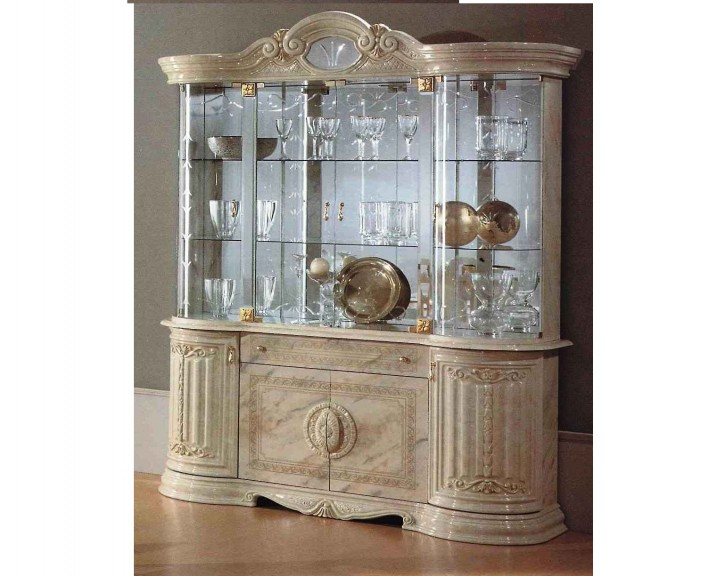Vitrine Betty in Beige klassisch Barock Glasvitrine