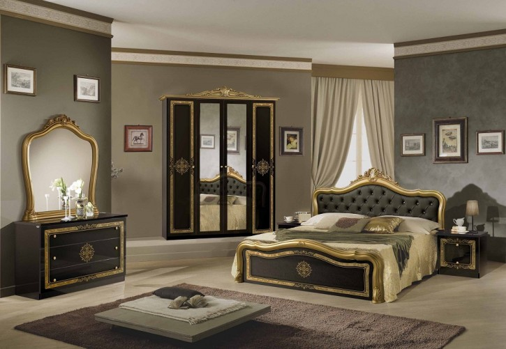 Schlafzimmer Set Lucy in Schwarz-Gold
