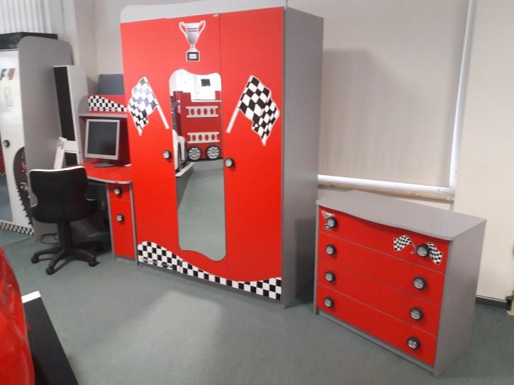 Kinder Möbel Set Racer Kleiderschank Schreibtisch Kommode