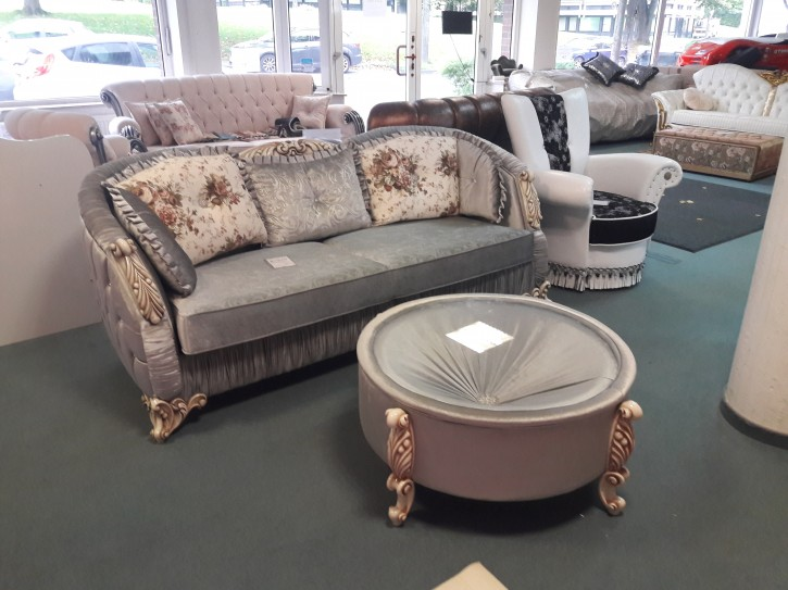 Couch Inkl. Tisch Dolunay in Grau Barock design