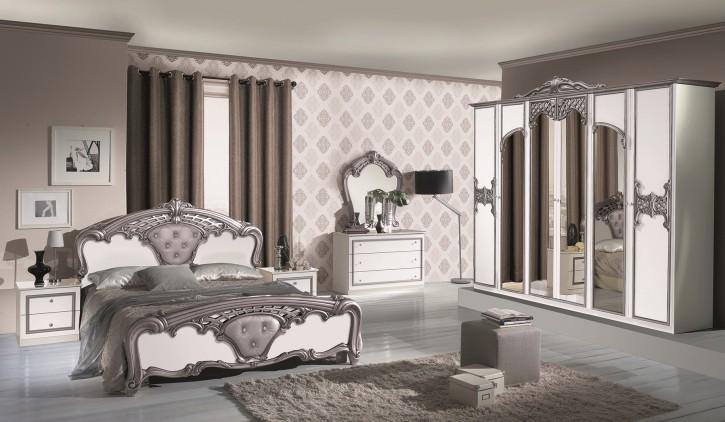 Schlafzimmer Elisa weiss Silber mit Kleiderschrank 6-türig Ita