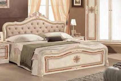 Bett Lucy 160 x200 cm in beige creme königlich Polsterung im Kop