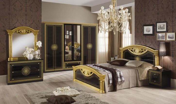 Schlafzimmer Rana in schwarz Gold 180 Bett 6 trg Klassik Italien