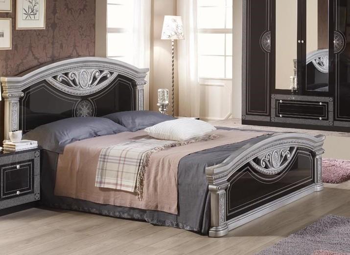 Bett Rana 180x200 cm schwarz silber Royal Klassiche Luxus Möbel
