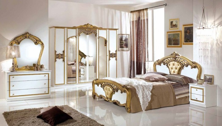 Schlafzimmer Set Elisa Weiss Gold 7-teilig 180x200 cm  / mit Schrank 6 türig