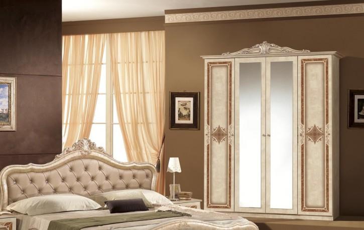 Kleiderschrank 4 türig in beige Lucy mit Krone Spiegel für Schla