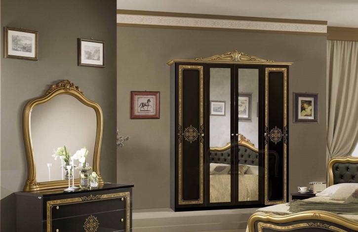 Kleiderschrank 4 türig schwarz gold Lucy mit Krone Spiegel Itali