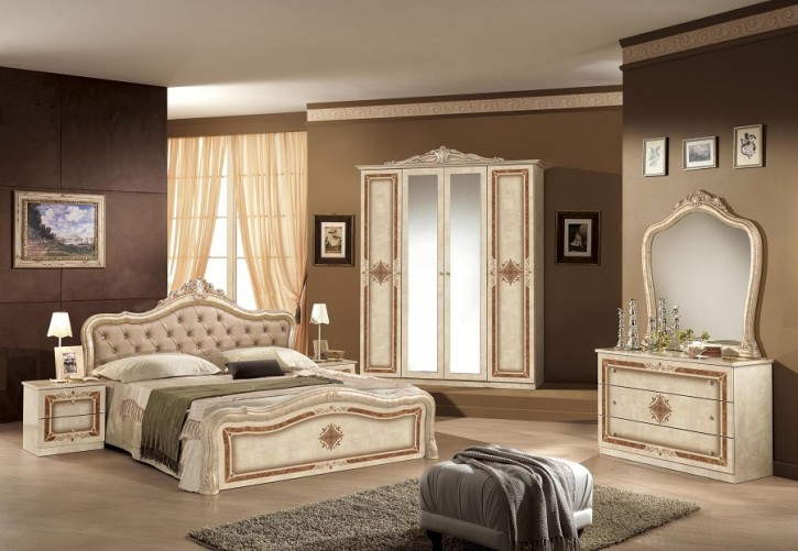 schlafzimmer in beige lucy mit krone 180x200 cm klassik barock dh lu nec rb tap 180. Black Bedroom Furniture Sets. Home Design Ideas