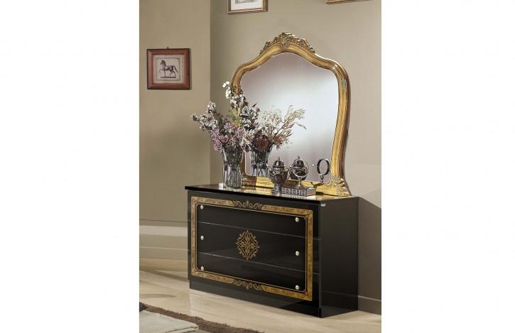 Kommode Lucy mit Spiegel schwarz gold für Schlafzimmer Klassik K