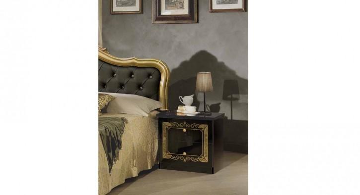 Nachtkonsole schwarz gold Lucy für Schlafzimmer Klassik Stilmöbe