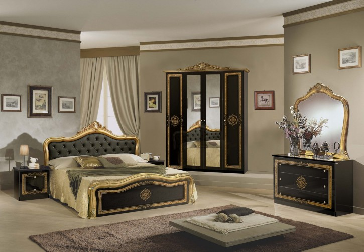 Schlafzimmer schwarz gold Lucy Klassik Barock Stilmöbel 180x200