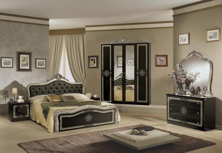 Schlafzimmer in schwarz silber Lucy Klassik Barock Stilmöbel 180