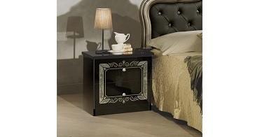 Nachtkonsole schwarz silber Lucy für Schlafzimmer Klassik Stilmö