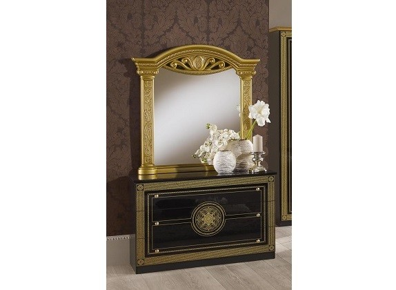 kommode mit spiegel rana schwarz gold klassik barock luxus. Black Bedroom Furniture Sets. Home Design Ideas
