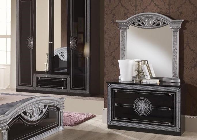 Wäschekommode mit Spiegel Rana in schwarz Silber Klassisch Itali
