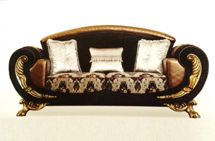 Sitzgruppe Galaksi 3+3+1 schwarz Gold 140 Couch set Sofa