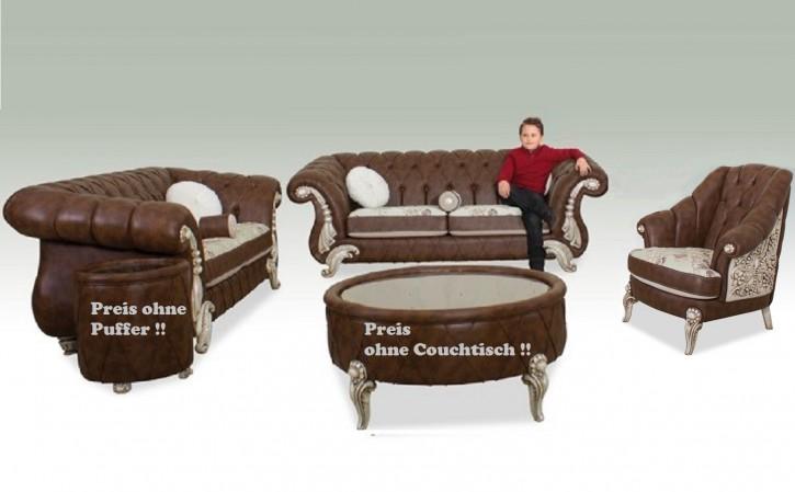 Chesterfield Taha Braun Beige 2120 Moderne Sitzgruppe