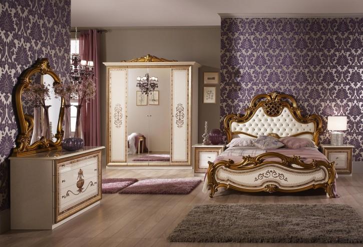 Schlafzimmer Anja beige Italien König Barock Bett 160 Kls 4 trg