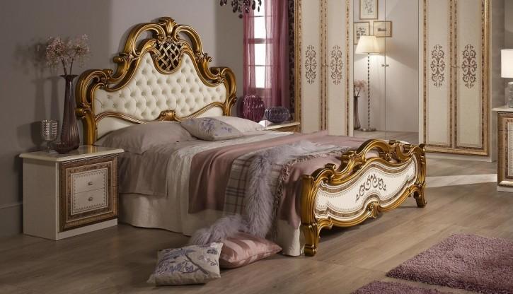 Bett Anja 180x200 Beige Gold Italien Luxus für Schlafzimmer