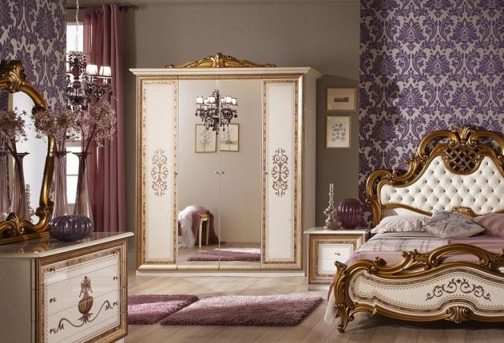 Kleiderschrank 4 türig Anja beige mit Spiegel Klassik Barock Ita