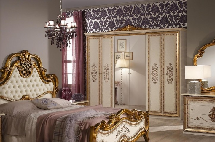 kleiderschrank 6 t rig anja beige mit spiegel klassik. Black Bedroom Furniture Sets. Home Design Ideas