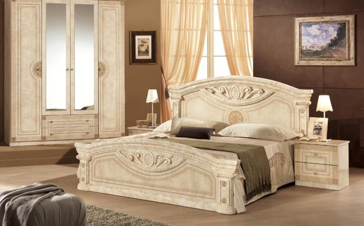 Bett Rana 160x200cm beige creme Barock Stilmöbel aus Italien