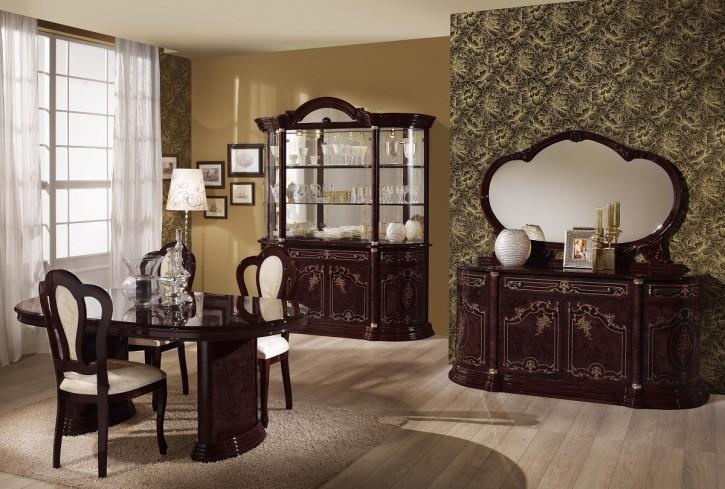 Esszimmer Rozza mahagoni Glanz klassisch Barock mit Stuhl Tisch