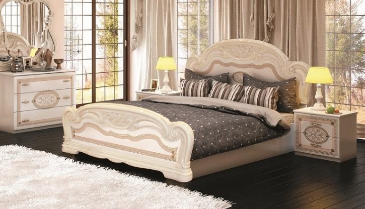 Bett Lana 160 x 200 cm in beige creme klassisch Barock Stilmöbel