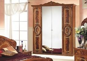 Kleiderschrank Rozza 4trg mit Spiegel walnuss Barockstil