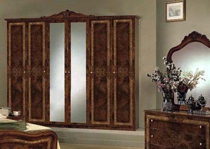 Kleiderschrank 6-türig Lucy walnuss für klassische Schlafzimmer