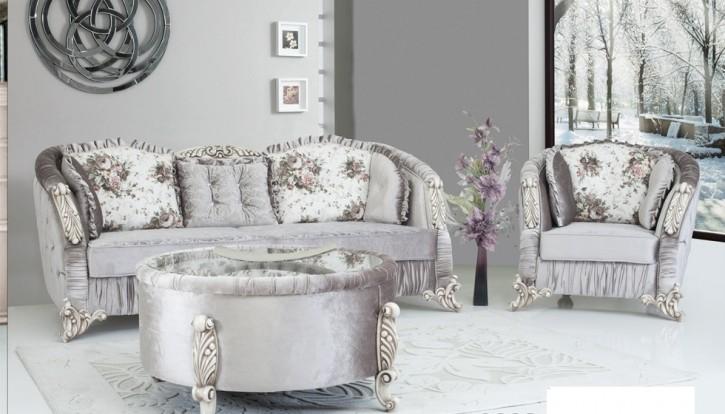 Sofa Couch Set Dolunay grau glänzend Barock Stil für Wohnzimmer