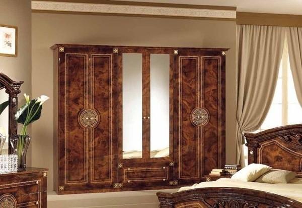 Kleiderschrank 6 türig Rana walnuss Klassik Barock Italien