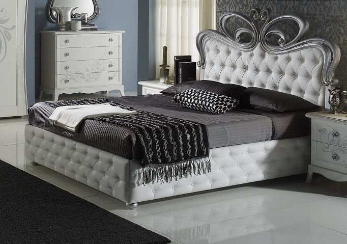 bett perle weiss creme mit bettkasten stauraum luxus elite. Black Bedroom Furniture Sets. Home Design Ideas